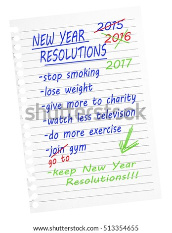 New year resolutions 2017 list - again. Lose weight, exercise more, get fit etc. Aspirational goals.