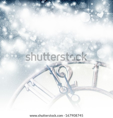 New Year's at midnight - old vintage clock and holiday lights - stock photo
