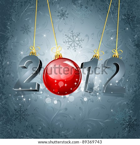 New Year's background with the numbers 2012 and a red New Year's ball, on a gray, luxury, vintage background(JPEG version) - stock photo