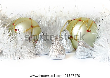 New Year's card. Two spheres and christmas decorations