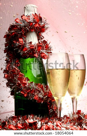 New Year's card with champagne decoration - stock photo