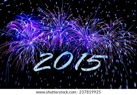 New Year's Card 2015 with fireworks - stock photo