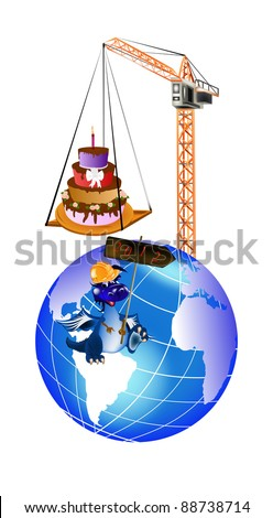 New Year's celebratory pie in a gift from the Dark blue Dragon - stock photo