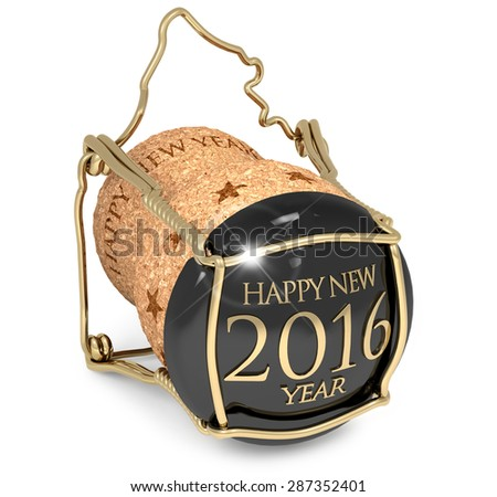 New Year's champagne cork isolated on white - stock photo