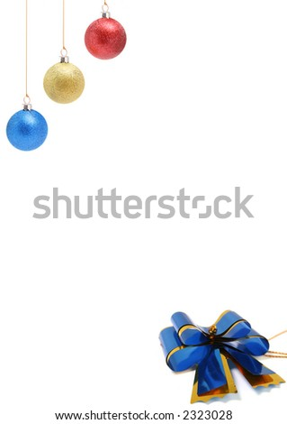 New Year's christmas-tree decorations of red, yellow and dark blue color - stock photo
