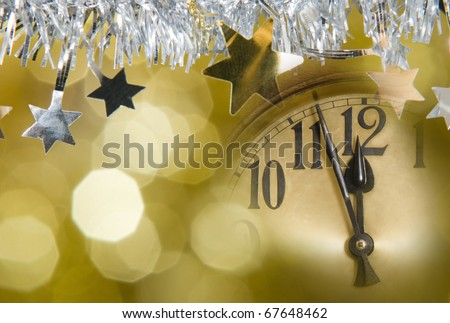 new year's clock - stock photo