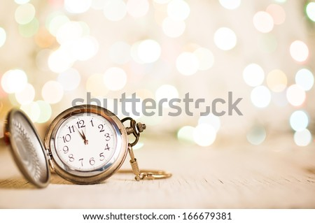 New Year's clock at midnight - stock photo