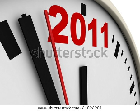 New Year's clock on white background. 3d render - stock photo