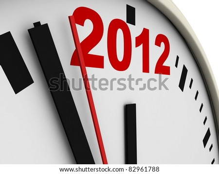 New Year's clock on white background. 3d render