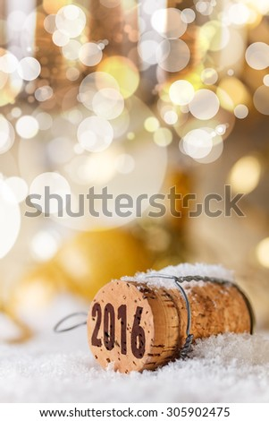 New Year's concept, Champagne cork new year's 2016 - stock photo