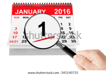 New Year's Day Concept. 1 January 2016 calendar with magnifier on a white background - stock photo