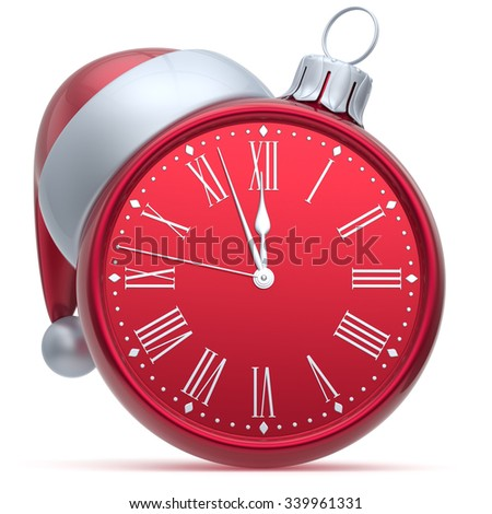 New Year's Eve alarm clock Christmas ball decoration Santa hat bauble ornament red white. Traditional wintertime holidays midnight countdown beginning time future symbol adornment. 3d render isolated - stock photo