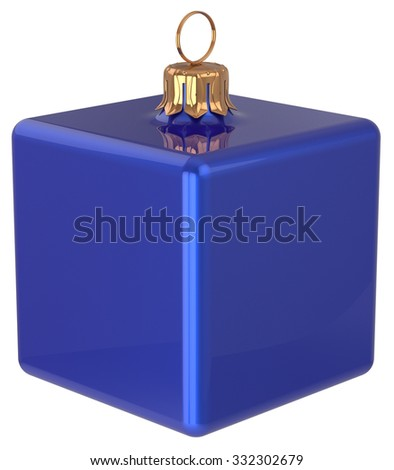 New Year's Eve bauble Christmas ball cube geometric unusual blue decoration hanging adornment. Traditional wintertime holidays home square ornament Merry Xmas symbol shiny blank. 3d render isolated - stock photo