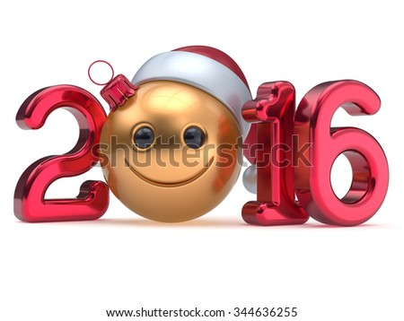 New 2016 Year's Eve calendar date Smiley face emoticon bauble Christmas ball cartoon decoration golden red. Happy Merry Xmas cheerful funny smile Santa hat joyful person laughing character. 3d render - stock photo