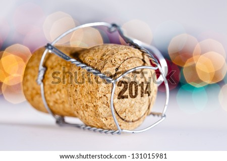 New Year's Eve/Champagne cork new year's 2014 - stock photo