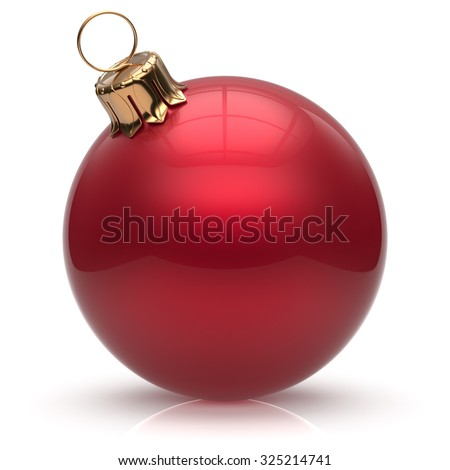 New Year's Eve Christmas ball bauble wintertime decoration red sphere hanging adornment classic. Traditional winter ornament happy holidays Merry Xmas event symbol glossy blank. 3d render isolated - stock photo
