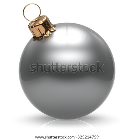New Year's Eve Christmas ball bauble wintertime decoration white sphere hanging adornment classic. Traditional winter ornament happy holidays Merry Xmas event symbol glossy blank. 3d render isolated - stock photo