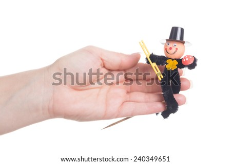 new year's eve lucky charm - funny chimney sweep - stock photo
