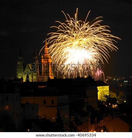 New Year's fireworks, Hradcany, Prague, Czech Republic - stock photo