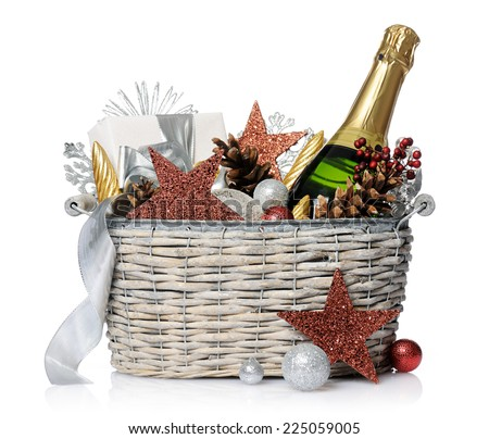 Gift basket stock images royalty free images vectors shutterstock new years gift negle Gallery