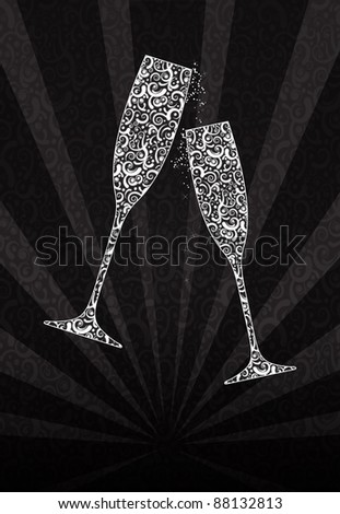New Year's glasses made of lace - stock photo