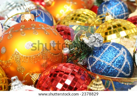 New Year's ornaments of different color in the form of glass and mirror spheres