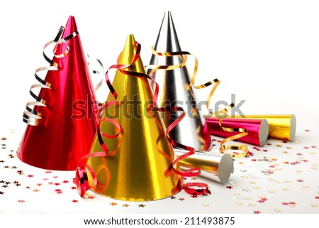 New year's party decoration on white background - stock photo