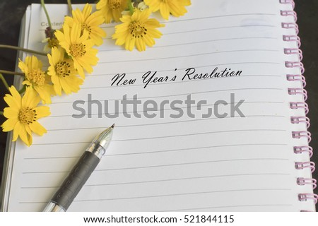 New Years Resolution Message Flower Pen Stock Photo (Royalty Free ...