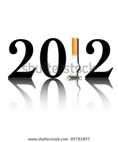 New Year's resolution Quit Smoking concept with the i in 2012 being replaced by a stubbed out cigarette. Also available in vector format. - stock photo