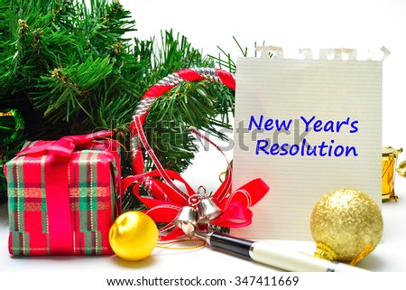 New Year's  Resolution Text on the background