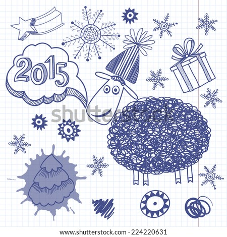 New Year`s Set. Illustration, skech with Lamb - symbol of New Year 2015. Rasterized versions - stock photo