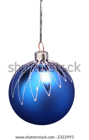 New Year's sphere of dark blue color with a pattern on a white background - stock photo