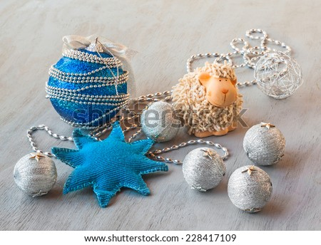 New Year's toys on a gray background - stock photo