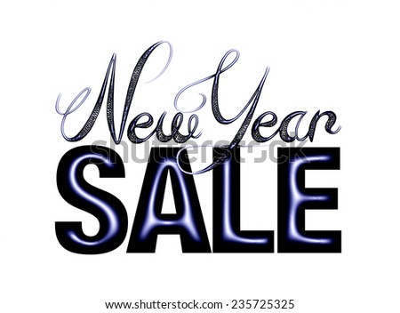 New Year Sale 3d text Design in dark glossy blue on white background - stock photo