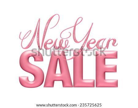 New Year Sale 3d text Design in Light Pink on white background - stock photo