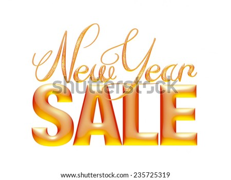 New Year Sale 3d text Design in orange on white background