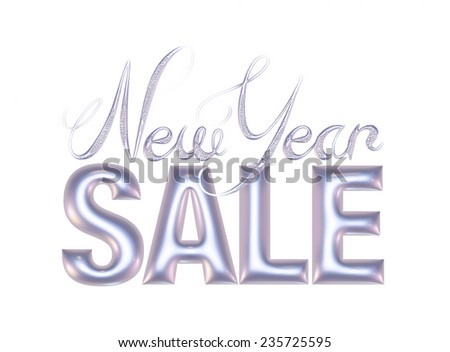 New Year Sale 3d text Design in purl metallic on white background - stock photo