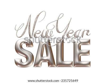 New Year Sale 3d text Design in Silver on white background - stock photo