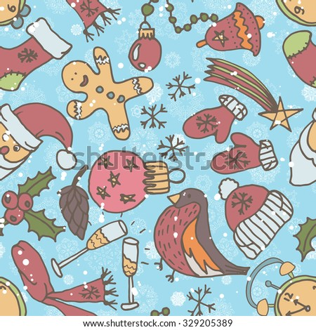 New year seamless pattern. Endless Christmas template. Use as s pattern fill.