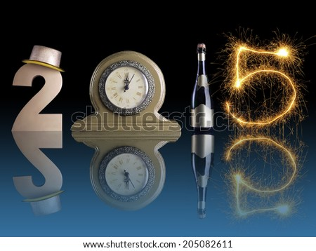 New Year 2015 set up of golden digit two, table clock, bottle of champagne and digit five created from burning sparkler all with mirror reflection effect - stock photo