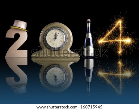 New Year 2014 set up of golden digit two, table clock, bottle of champagne and digit four formed from burning sparkler all with mirror reflection effect - stock photo