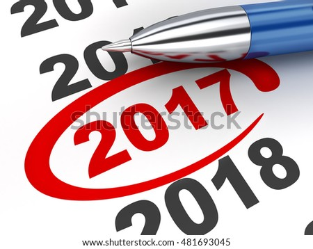 New year sign 2017 and pen (done in 3d rendering, white background)