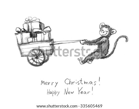 New year smiling monkey with sledge of gift boxes - pencil painted sketch. Vintage christmas greeting card - stock photo