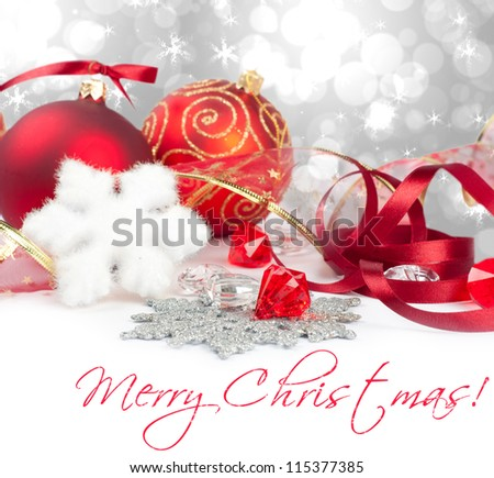 New year sphere with ribbon - stock photo