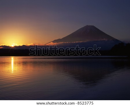 New year sunrise and Mt,fuji - stock photo
