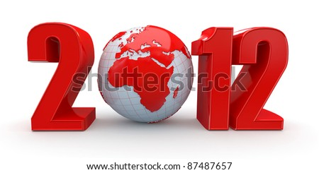 New Year. Text 2012 and earth. 3d - stock photo