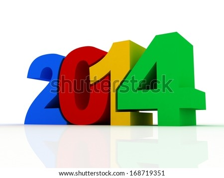 new year 2014 text 3D on white background
