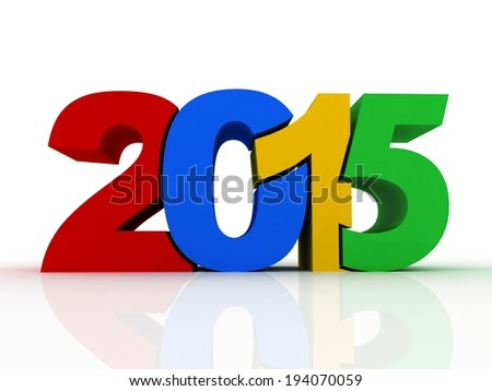 new year 2015 text 3D on white background - stock photo