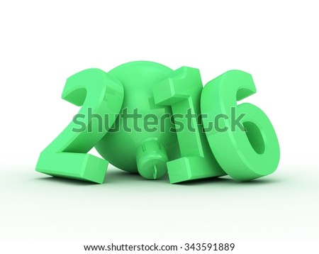 New year 2016 text 3D on white background