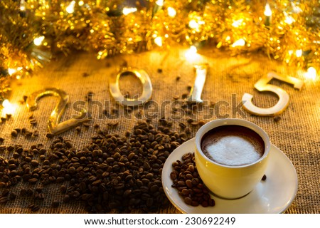 New year text on christmas decoration....New  year 2015 ... - stock photo